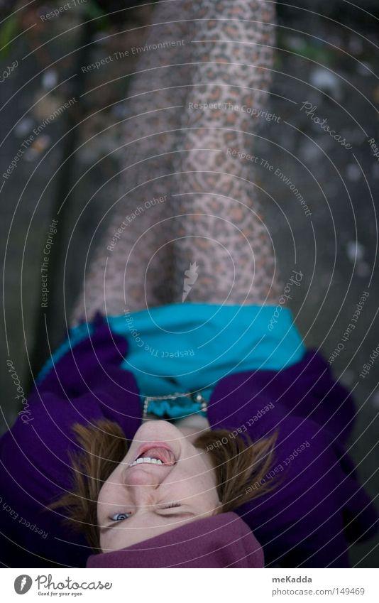 crazy Frau blau Freude oben verrückt violett Strumpfhose Zunge Leopard Strümpfe Katze