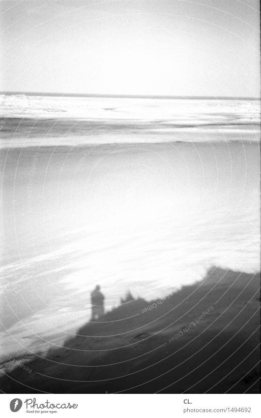 insel Mensch Himmel Natur Ferien & Urlaub & Reisen Wasser Meer Landschaft Einsamkeit ruhig Ferne Strand Umwelt Küste Freiheit Sand Horizont