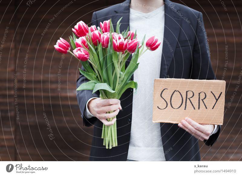 Entschuldigung Mensch maskulin Partner Leben Körper Hand 1 Blume Tulpe Papier Blumenstrauß Klischee Gefühle Laster Liebe Schmerz Enttäuschung Partnerschaft