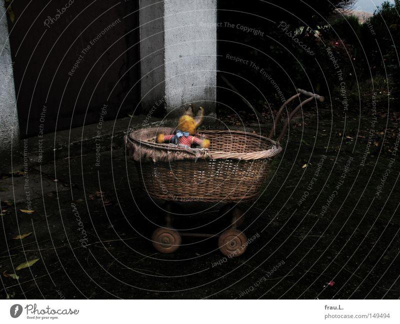 Hase alt Wand Spielen Garten Mauer Kindheit Tür dreckig Sträucher Trauer Ostern Dinge Spielzeug Hase & Kaninchen Verzweiflung Erinnerung