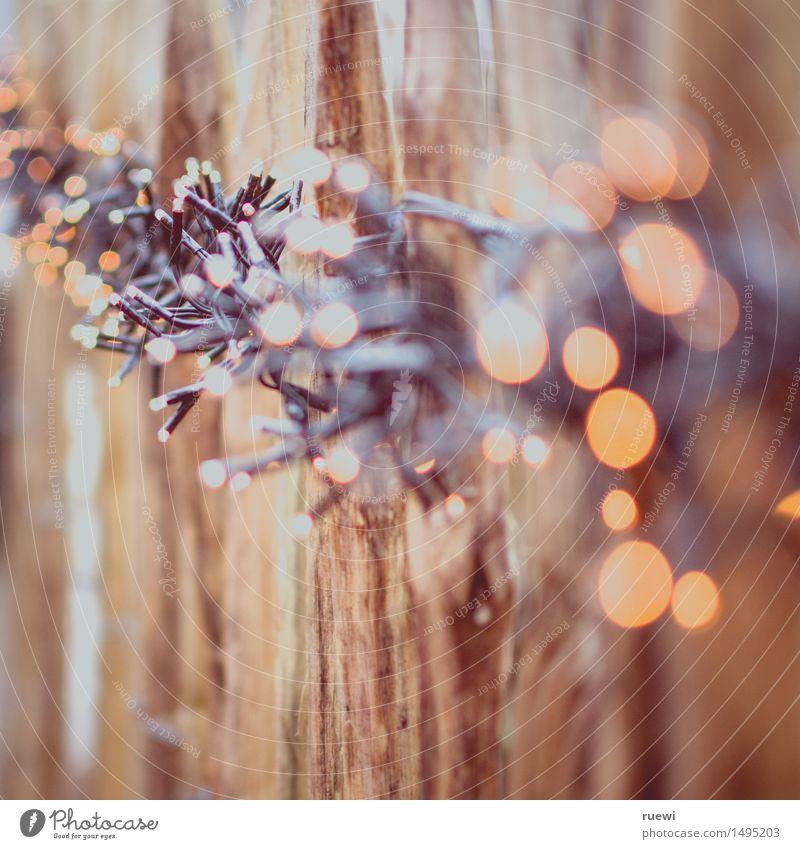 Lichterkette Weihnachten & Advent Winter gelb Holz braun Lampe Linie hell Dekoration & Verzierung leuchten Punkt Kunststoff Zaun durcheinander Weihnachtsdekoration verschönern