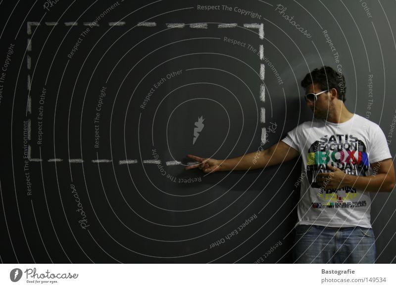scherenhand Mensch Mann Freude Werkzeug Wand Stil grau Raum lustig Beton Finger Coolness T-Shirt Werbung Konzentration zeichnen