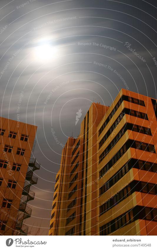 Thank you for your attention. Bye. Stadt Haus Wolken gelb dunkel Fenster träumen Gebäude Hochhaus hoch Fassade schlafen modern Mond Bauwerk Unternehmen
