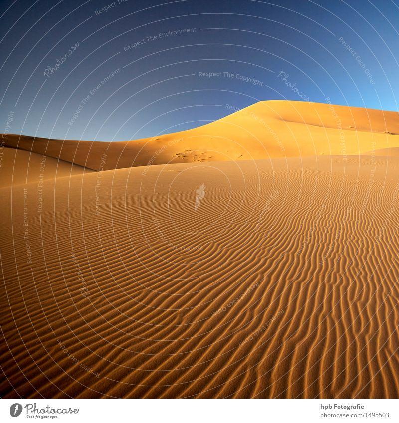Sahara Natur Ferien & Urlaub & Reisen blau Sommer Sonne Erholung Landschaft Ferne gelb Freiheit braun Stimmung Sand Tourismus Erde frei