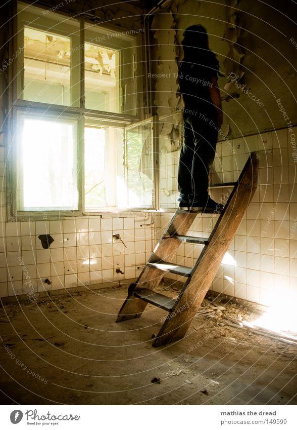 WRONG WAY Treppe Leiter aufsteigen Gangway laufen treten heben drücken Knie anstrengen hoch Niveau Höhe Etage erobern Barriere rund Wölbung Haut Gebäude