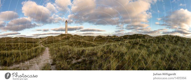 weg Umwelt Abenteuer Nordsee Düne Leuchtturm Hoffnung Neuanfang Wege & Pfade Zukunft Ferne tief Farbfoto Menschenleer Tag Dämmerung Panorama (Aussicht)