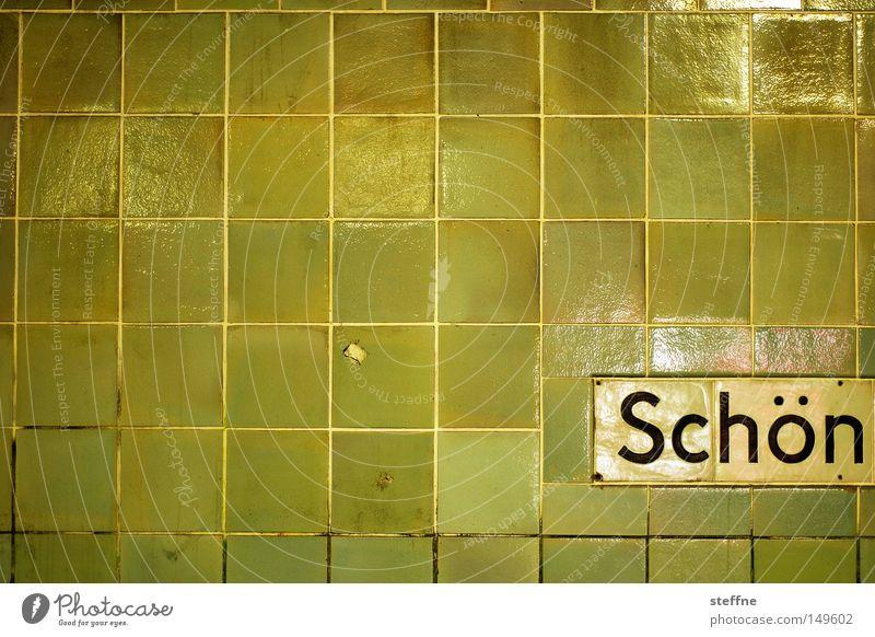 Schön Freude schön Schriftzeichen gelb grün Typographie Wand Wort Fliesen u. Kacheln Farbfoto
