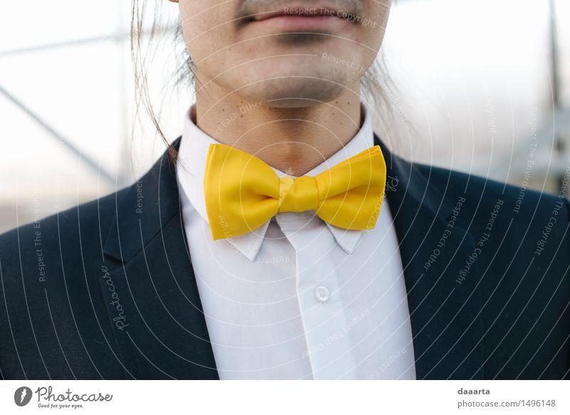 gelbe Fliege Lifestyle elegant Stil Design Freude Leben harmonisch Freizeit & Hobby Winter Feste & Feiern Hochzeit maskulin Accessoire Schmuck Freundlichkeit