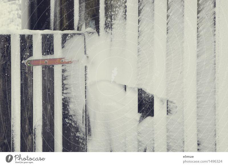 Tür zu! Winter Eis Frost Schnee Hütte Fassade Holzwand Holzbrett Tor Holztor Türblatt Linie Streifen Netzwerk Schloss Türangel Palast Eispalast weiß standhaft