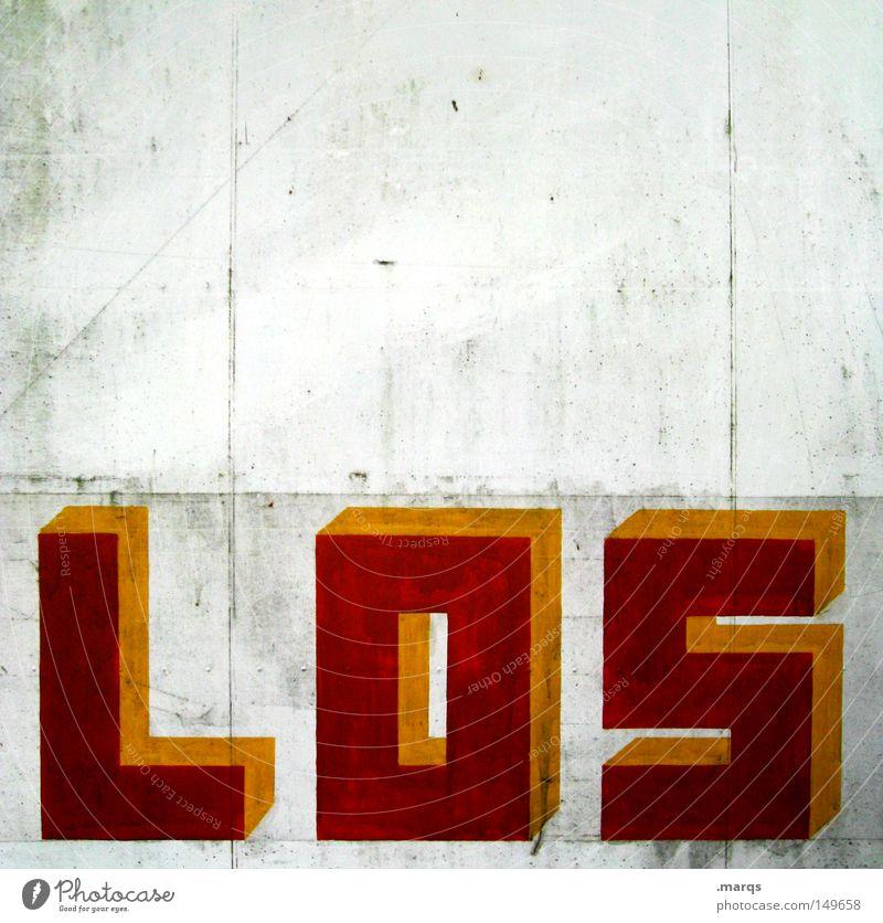 Wochos weiß rot gelb Wand dreckig Design Beginn Erfolg Schriftzeichen Buchstaben Wandel & Veränderung Typographie Wort anstrengen Gegenwart Optimismus