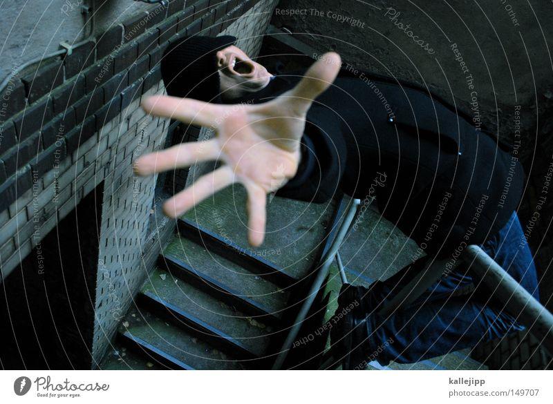 halt mich an deiner liebe fest Mensch Mann Hand Angst Treppe gefährlich bedrohlich fallen stoppen Vertrauen schreien fangen festhalten Mütze Sturz
