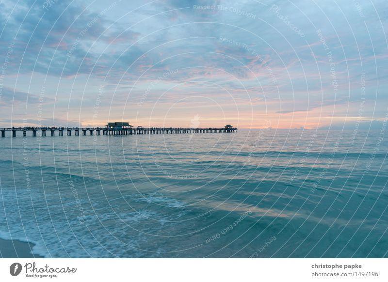 Bridge over calm water Ferien & Urlaub & Reisen Ferne Freiheit Sommer Sommerurlaub Meer Wellen Naples Florida USA Kitsch Pastellton Karibik Anlegestelle Steg