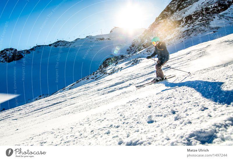 Skilady Sport Wintersport Skifahren Skier Free-Ski Skipiste feminin 1 Mensch Umwelt Natur Landschaft Himmel Wolkenloser Himmel Sonne Sonnenfinsternis