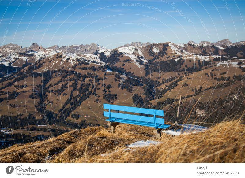 Aussichtsplatz Umwelt Natur Landschaft Sommer Herbst Schönes Wetter Alpen Berge u. Gebirge natürlich blau Bank Tourismus Wandertag Wanderausflug Schweiz Pause