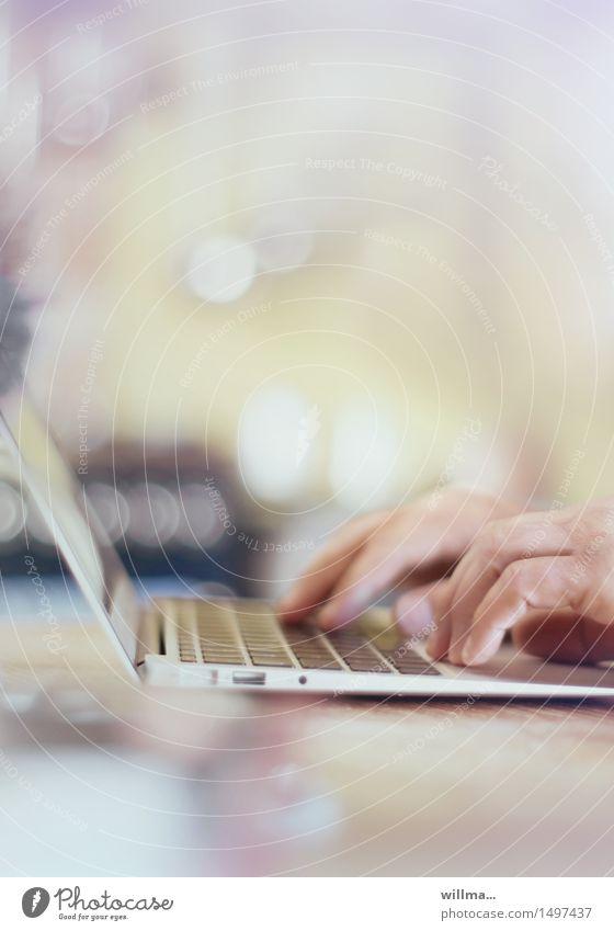 fingers tap on keyboard Bildung Wissenschaften Erwachsenenbildung lernen Arbeit & Erwerbstätigkeit Arbeitsplatz Büro Medienbranche Business Computer Notebook