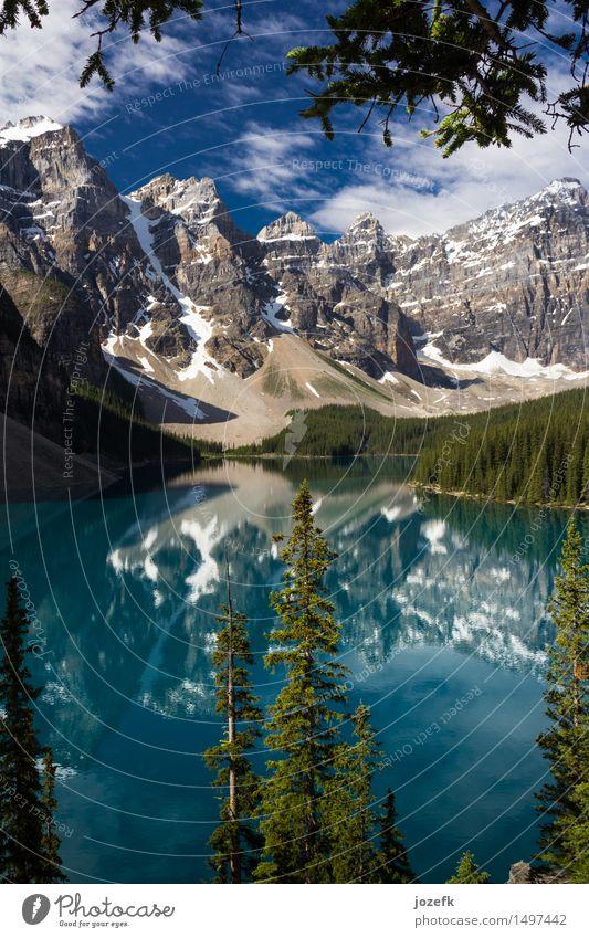 Ein Blick durch die Bäume am Moraine Lake Ferien & Urlaub & Reisen Tourismus Natur Landschaft Wasser Sommer Schönes Wetter Wald Berge u. Gebirge Rocky Mountains