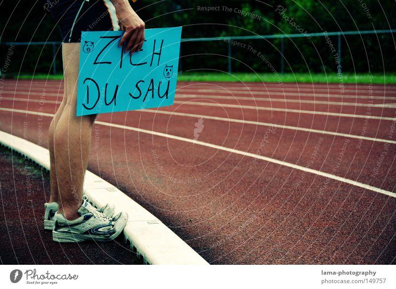 Motivationstrainer Sport Fuß Schuhe laufen Eisenbahn Laufsport Freizeit & Hobby Kurve Sportveranstaltung Poster Fan Applaus Schwein Plakat Läufer