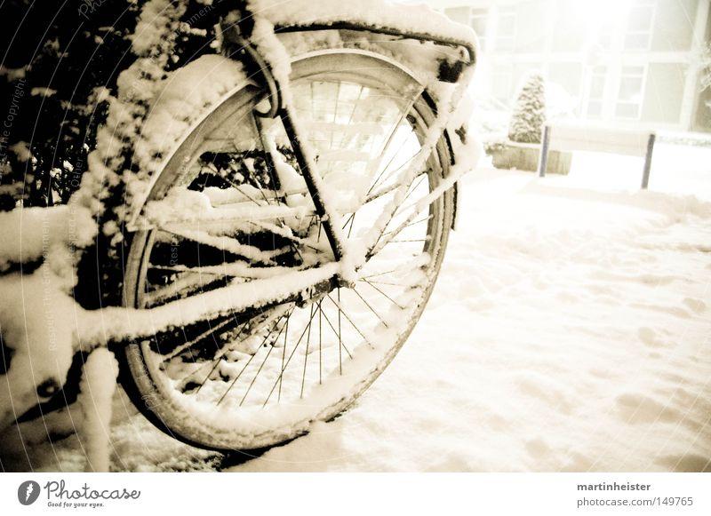 Rad im Schnee Fahrrad Winter Schneeflocke Schneefall kalt ruhig Unwetter zurückziehen Speichen Eis