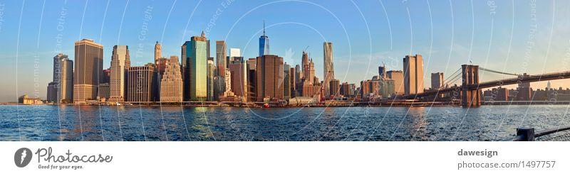 Manhattan-Panorama Himmel Ferien & Urlaub & Reisen Stadt blau schön Sommer Architektur Gebäude Wasserfahrzeug orange modern Hochhaus Brücke Geld Fluss USA
