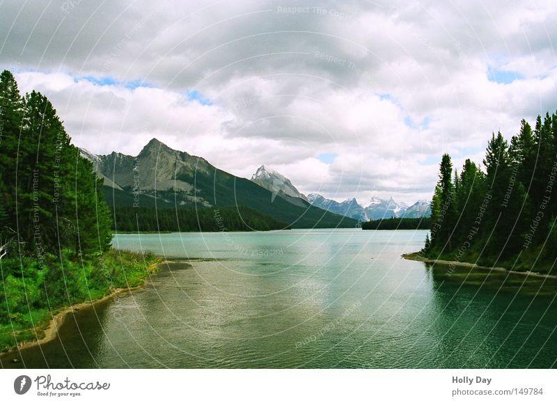 Abfluss Baum grün Ferien & Urlaub & Reisen Wolken Wald Berge u. Gebirge träumen See bedrohlich Kanada Glätte Oberfläche Nationalpark traumhaft Nordamerika
