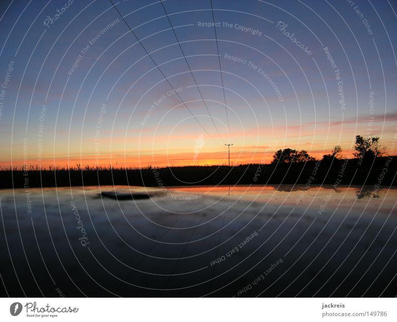 Lichtleitung Sonnenuntergang Strommast Horizont Silhouette Reflexion & Spiegelung Abend Erholung Sommer Dämmerung Kabel Stromtransport Himmelskörper & Weltall