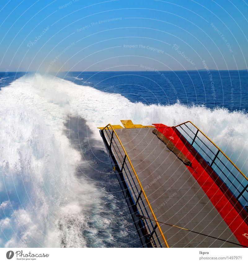von Mittelmeer Griechenland Natur Ferien & Urlaub & Reisen blau schön Sommer weiß Sonne Meer Erholung schwarz Bewegung Küste Horizont Textfreiraum Wind nass