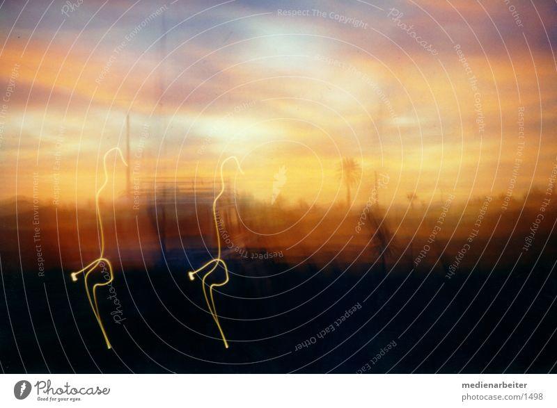 Sonnenuntergang PKW Scheinwerfer Fototechnik