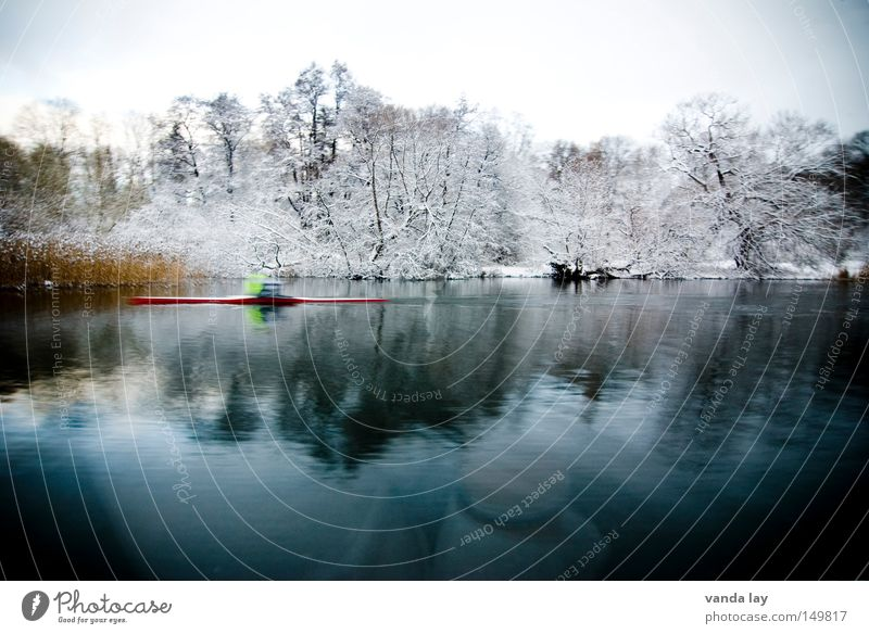 Stockholmer Ansichten Fluss Wasser Gewässer Reflexion & Spiegelung Wald Baum kalt Winter Ruderer Kajak Sportler Bewegungsunschärfe Küste Seeufer Flussufer