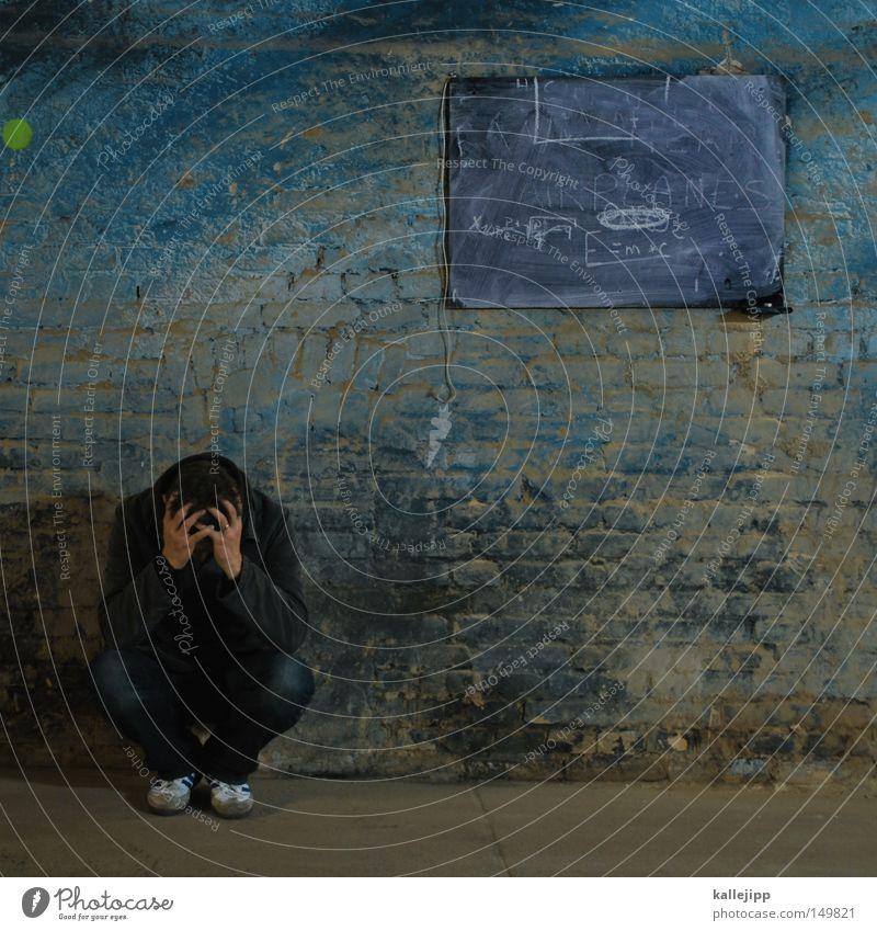 sitzenbleiber Hand Mauer Denken Arbeit & Erwerbstätigkeit Raum Zeit sitzen Erfolg lernen Geschwindigkeit Schulgebäude planen Schriftzeichen Bildung Ziffern & Zahlen Physik