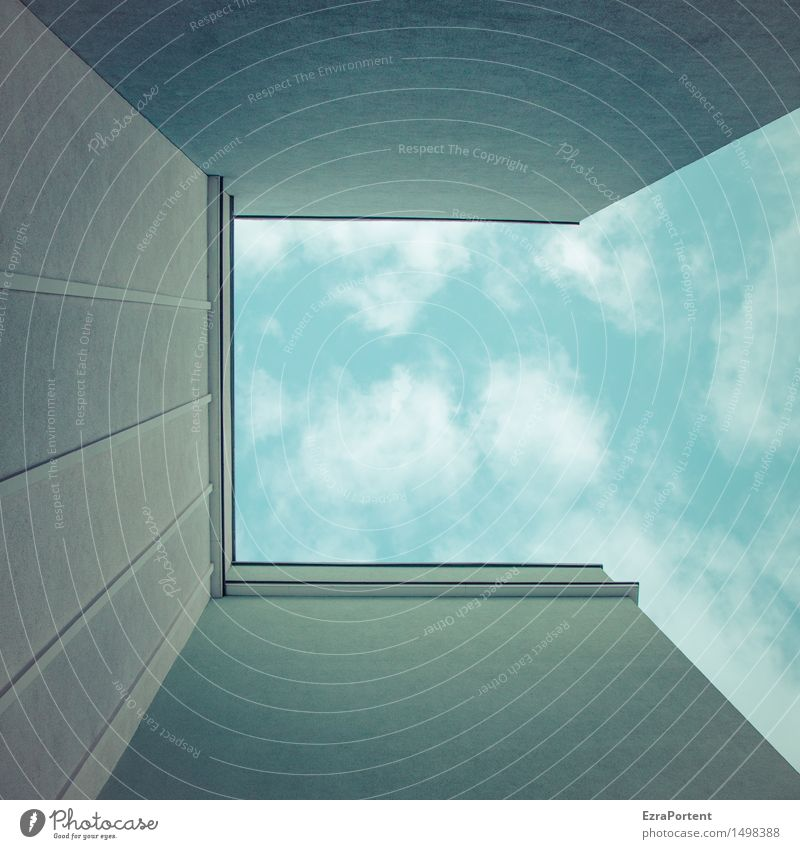 up Himmel Wolken Haus Bauwerk Gebäude Architektur Mauer Wand Fassade Beton Linie blau grau Design Ecke oben aufwärts Grafische Darstellung graphisch