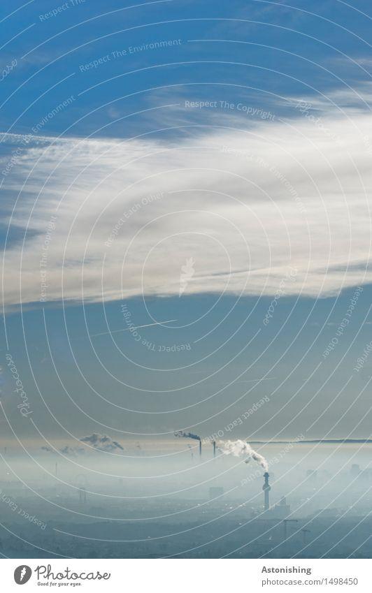 Industrie Umwelt Natur Landschaft Luft Himmel Wolken Horizont Wetter Schönes Wetter Nebel Wien Österreich Stadt Hauptstadt Haus Industrieanlage Fabrik Turm