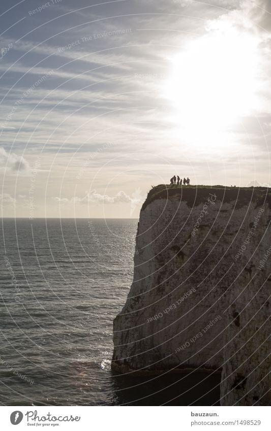 sechs. Mensch Himmel Natur Ferien & Urlaub & Reisen Sommer Wasser Sonne Meer Landschaft Wolken Ferne Berge u. Gebirge Umwelt Küste Menschengruppe Freiheit