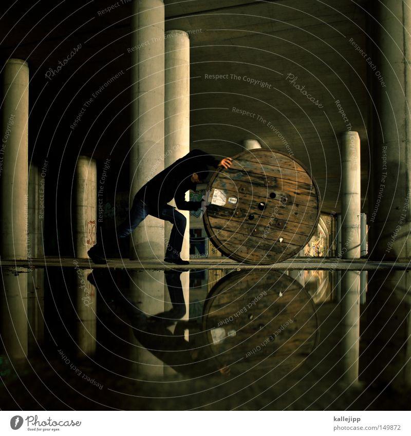 BLN08_von der rolle Rolle rollen Fass Pfütze Wasser Regen Säule Tunnel Brücke Kommandobrücke Kirche Mann Mensch Arbeit & Erwerbstätigkeit Dienstleistungsgewerbe