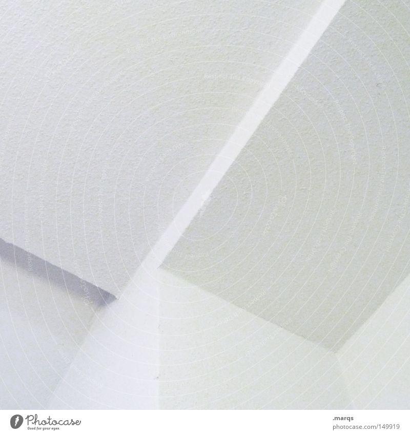 Y elegant Stil Design Gebäude Architektur Mauer Wand Linie ästhetisch eckig hell Sauberkeit schön weiß steril Ecke obskur Decke minimalistisch Detailaufnahme