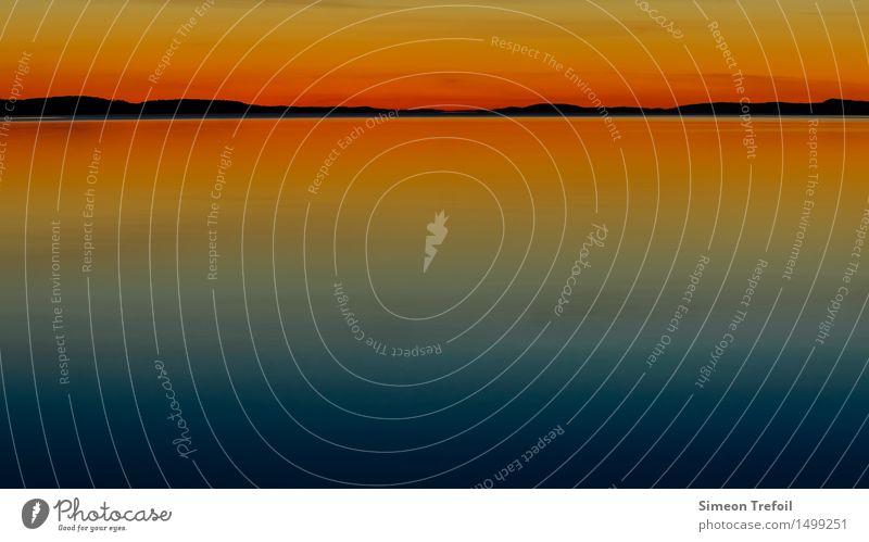 Sonnenuntergang abstrakt Abenteuer Camping Sommer Sommerurlaub wandern Natur Landschaft Wasser Himmel Wolkenloser Himmel Horizont Felsen Küste Seeufer Pielinen