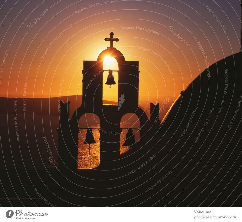 Kapelle auf Santorin Ferien & Urlaub & Reisen Tourismus Meer Insel Haus Sonne Sonnenaufgang Sonnenuntergang Sonnenlicht Vulkan Griechenland Europa Kirche