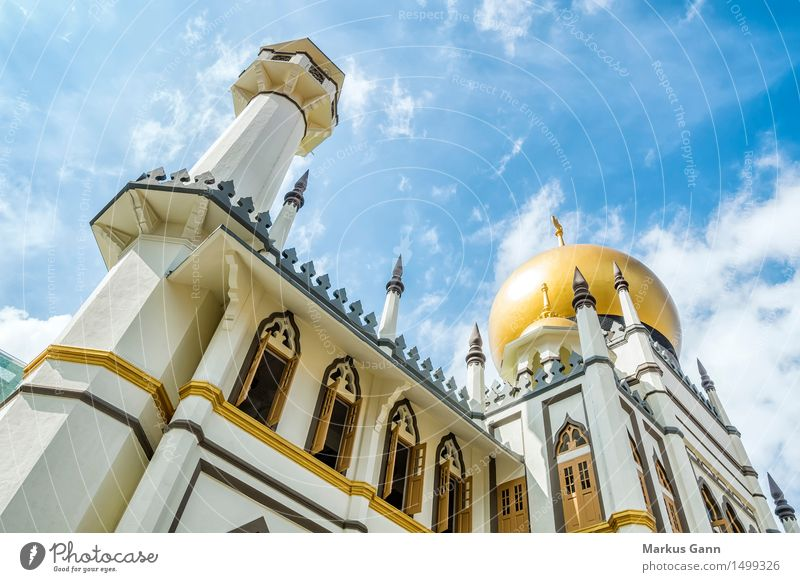 Sultan Moschee in Singapur elegant exotisch Kirche Sehenswürdigkeit Religion & Glaube Islam Moslem Allah Singapore Himmel blau Gold Turm Arabien Farbfoto