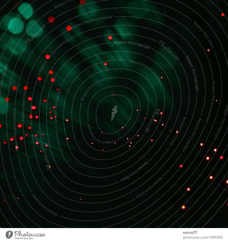 Lichtpunkte Energiewirtschaft Raumfahrt leuchten grün rot Design Kunst skurril Lichterscheinung Technik & Technologie Weltall Glasfaserlampe abstrakt