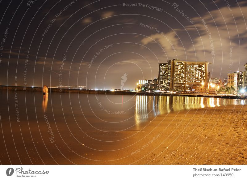 Waikiki by Night Wasser Meer Strand Ferien & Urlaub & Reisen Haus Wolken dunkel Sand hell Stimmung Flugzeug Insel USA Tourismus Hotel Hauptstadt
