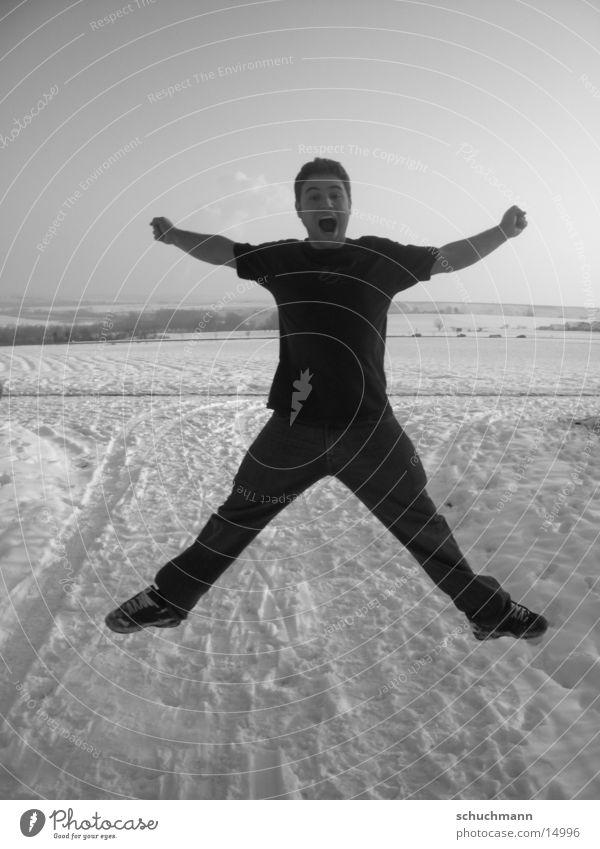 Schuchi III Winter Porträt Mann Schwarzweißfoto Schnee
