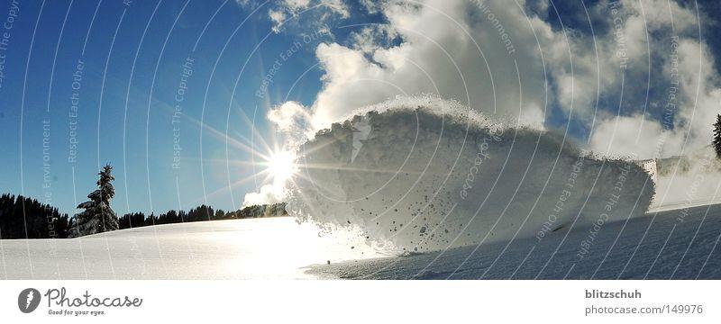 sunlightspray Sonne Wolken Freude Winter Schnee Kraft Aktion Skifahren Schweiz Schneelandschaft November Wintersport Spray Snowboarding schwungvoll Natur