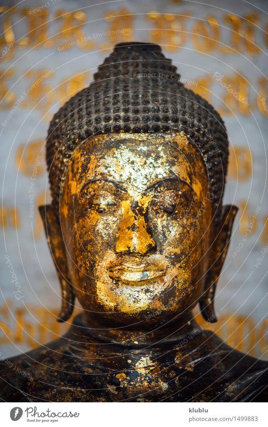Goldenes Buddha-Bild in Bangkok, Thailand Glück Meditation Ferien & Urlaub & Reisen Tourismus Kirche Denkmal Metall sitzen dunkel gold Glaube Religion & Glaube