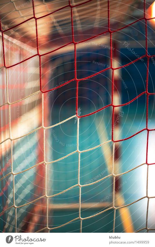 Fußball- oder Handballspielplatz. Tornetz Erholung Spielen Sommer Sport Stadion Schule Straße Kunststoff Linie weiß Konkurrenz Athlet Hintergrund Basketball