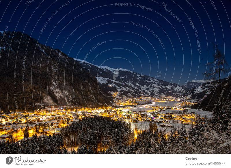 Mayrhofen Natur Stadt Landschaft Winter Berge u. Gebirge Schnee Horizont Europa Stern Gipfel Alpen Schneebedeckte Gipfel Skifahren Skyline Wolkenloser Himmel