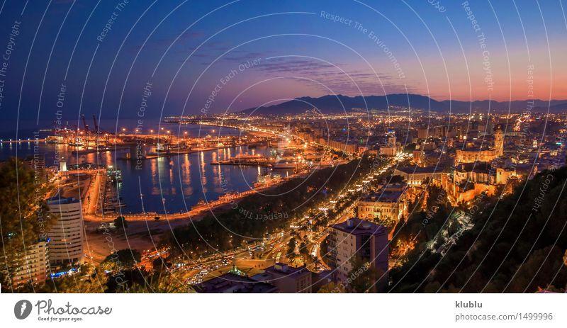 Panoramische Nachtansicht von Màlaga-Stadt, Spanien Himmel Ferien & Urlaub & Reisen blau Sommer Sonne Meer Landschaft Wolken Strand Straße Architektur Küste