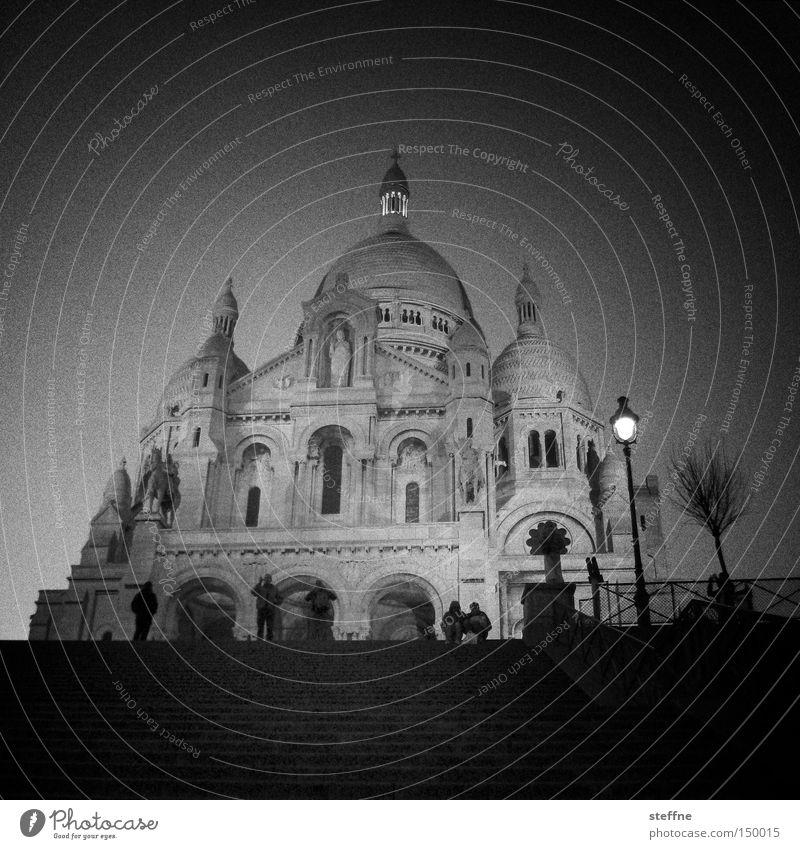 eierli äh sackre kör Religion & Glaube Kirche Sacré-Coeur Paris Frankreich Wahrzeichen Nacht Abend Laterne Lampe Beleuchtung Denkmal Gotteshäuser