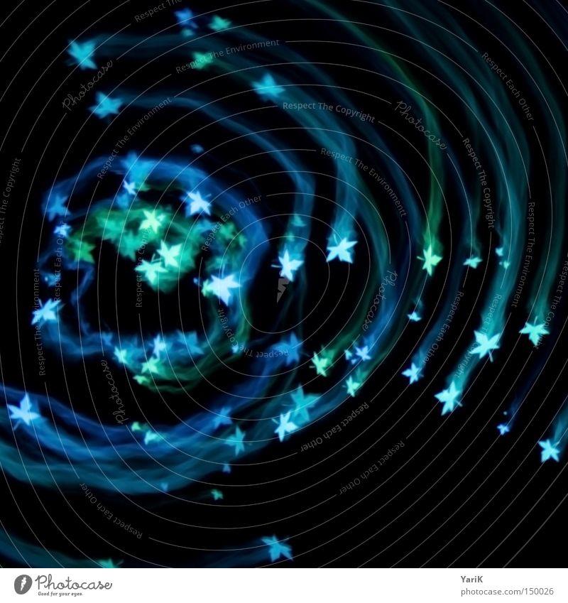 light-leaves Licht glühen Beleuchtung Blatt Kreis Kreisel drehen Schweben rund Schwanz Spuren blau grün türkis Kontrast schwarz Hintergrundbild