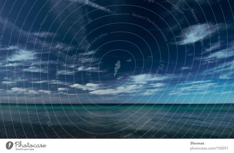 ostsee schön Himmel Meer blau Sommer Ferien & Urlaub & Reisen ruhig schwarz Wolken Einsamkeit Ferne gelb kalt Freiheit grau träumen