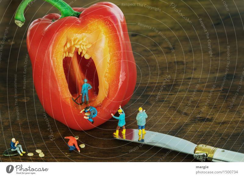 Miniwelten - Paprika(Kern) Ernte Lebensmittel Gemüse Ernährung Essen Bioprodukte Vegetarische Ernährung Messer Gesundheit Arbeit & Erwerbstätigkeit Beruf