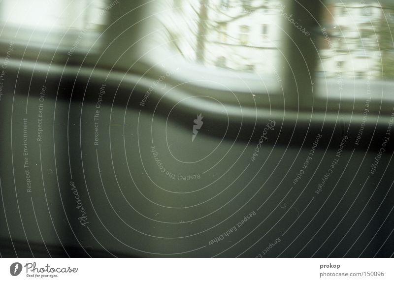 Harte Tage Unschärfe Raum Fenster Müdigkeit Hinterhof Heizkörper Heizung Baum analog Verzerrung falsch verrückt Illusion Wunschvorstellung Luftspiegelung